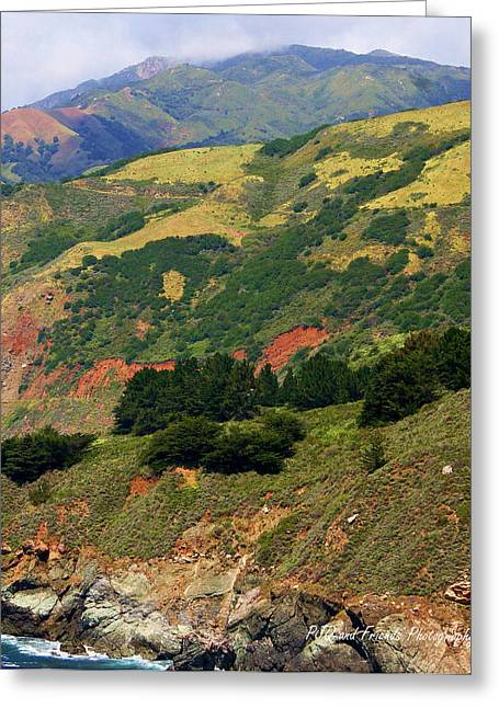 Pfeiffer Beach Greeting Cards - Big Sur Patchwork Mountainside Greeting Card by PJQandFriends Photography