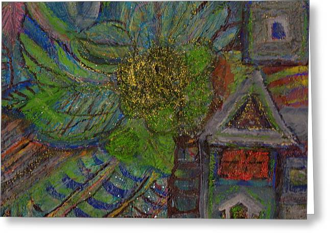 Big Trees And Little House Greeting Card by Anne-Elizabeth Whiteway