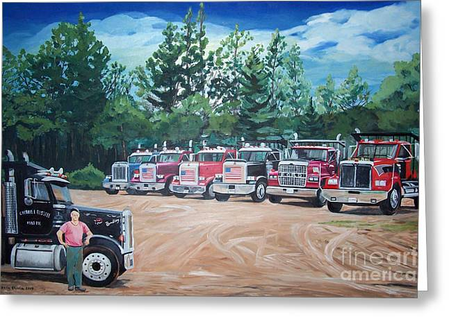Stella Sherman Greeting Cards - Big Trucks Greeting Card by Stella Sherman