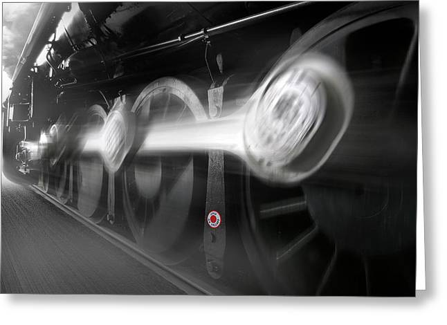 Locomotive Greeting Cards - BIG WHEELS in Motion Greeting Card by Mike McGlothlen