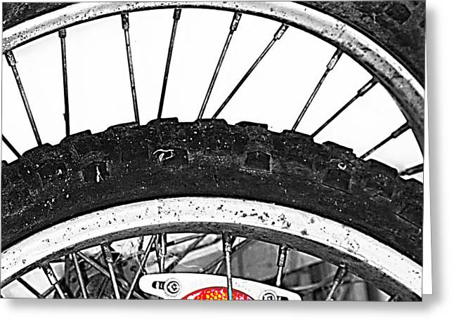 Big Wheels Keep on Turning Greeting Card by Jerry Cordeiro