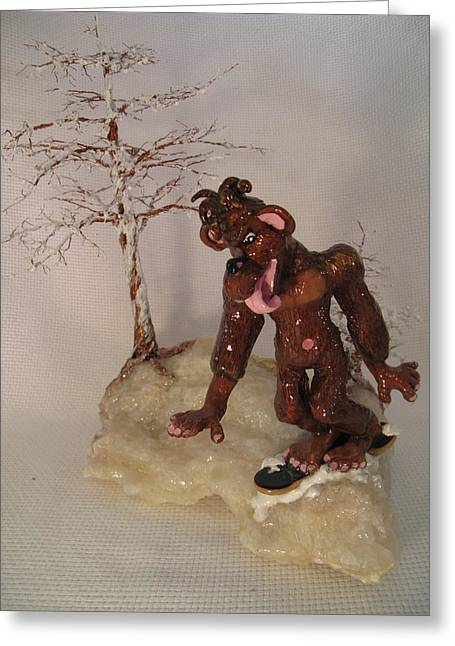 Outdoors Ceramics Greeting Cards - Bigfoot on Crystal Greeting Card by Judy Byington