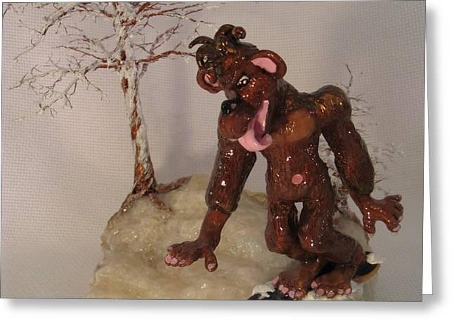 Bigfoot on Crystal Greeting Card by Judy Byington