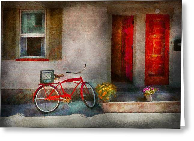 Customizable Greeting Cards - Bike - Welcome doors open  Greeting Card by Mike Savad
