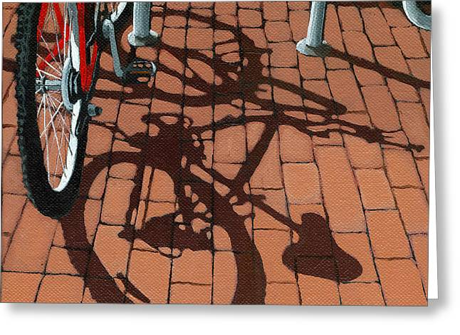 Bicycling Greeting Cards - Bike and Bricks  Greeting Card by Linda Apple