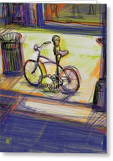 Headlight Mixed Media Greeting Cards - Bike at Rest Greeting Card by Russell Pierce
