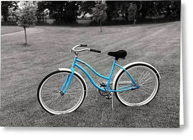 Blue Bike Greeting Cards - Bike in the Park Greeting Card by Brian Mollenkopf