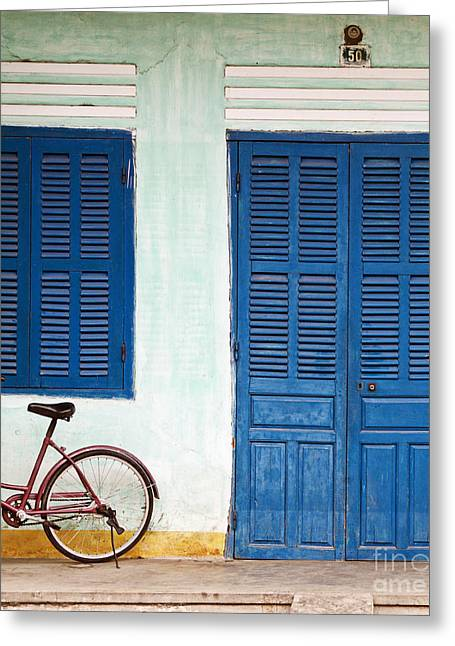 Double Bicycle Greeting Cards - Bike Parked on a Front Porch Greeting Card by Skip Nall