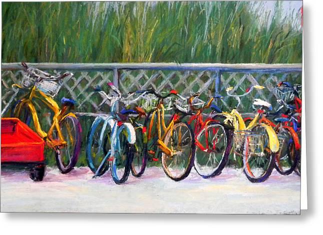 Wagon Pastels Greeting Cards - Bike Racks Greeting Card by Lorrie Turner