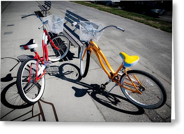 Alki Beach Greeting Cards - Bike Ride Greeting Card by Niels Nielsen