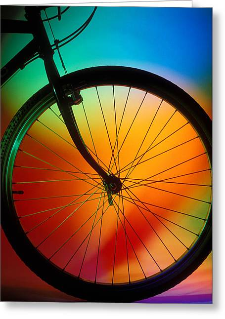 Color Wheel Greeting Cards - Bike Silhouette Greeting Card by Garry Gay