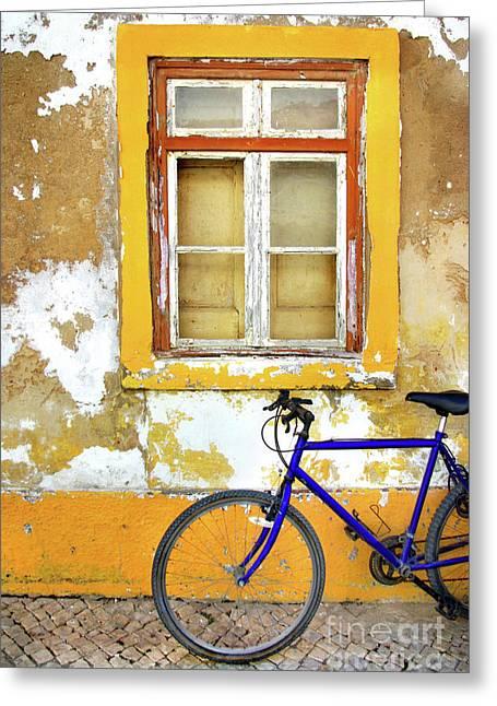 Weathered Shutters Greeting Cards - Bike Window Greeting Card by Carlos Caetano