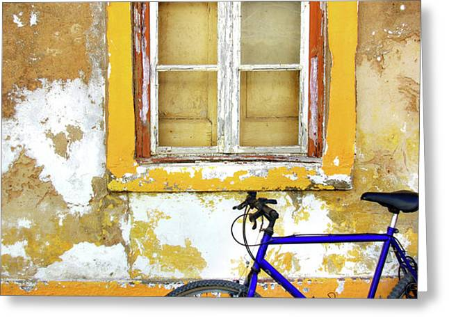 Bike Window Greeting Card by Carlos Caetano