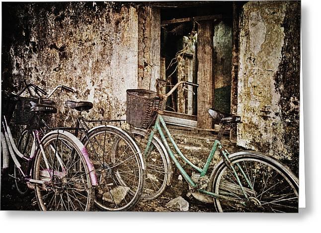 Skip Nall Greeting Cards - Bikes and a Window Greeting Card by Skip Nall