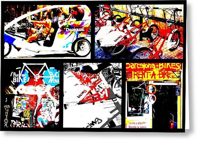 Biking in Barcelona Greeting Card by Funkpix Photo Hunter