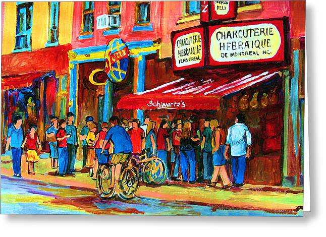 Classical Montreal Scenes Greeting Cards - Biking Past The Deli Greeting Card by Carole Spandau