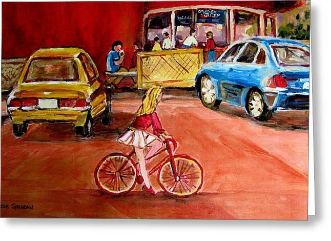 Out-of-date Greeting Cards - Biking To The Orange Julep Greeting Card by Carole Spandau