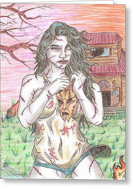 Gray Hair Drawings Greeting Cards - Bikini Leatherface Greeting Card by Michael Toth