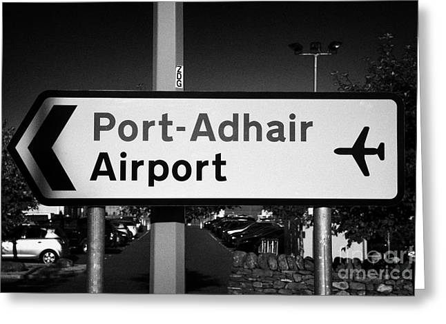 Gallic Greeting Cards - Bilingual Sign For Inverness Airport In Scots Gaelic And English Highland Scotland Uk Greeting Card by Joe Fox