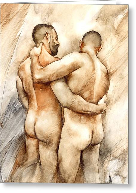 Naked Men Greeting Cards - Bill and Mark Greeting Card by Chris  Lopez