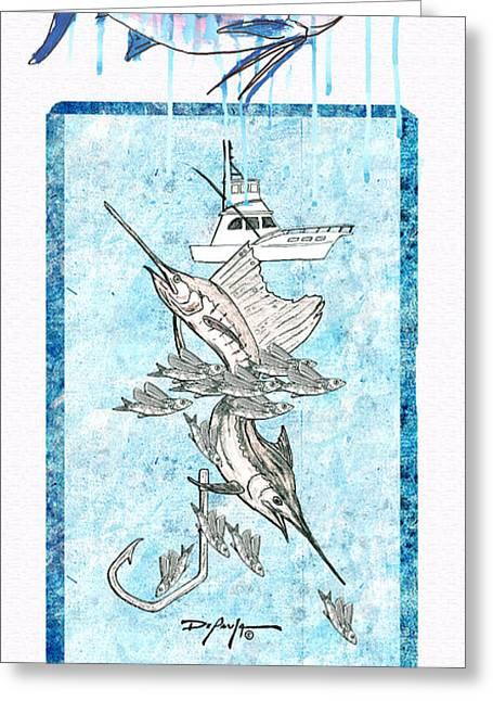 Circle Hook Greeting Cards - Billfish Adventure Greeting Card by William Depaula