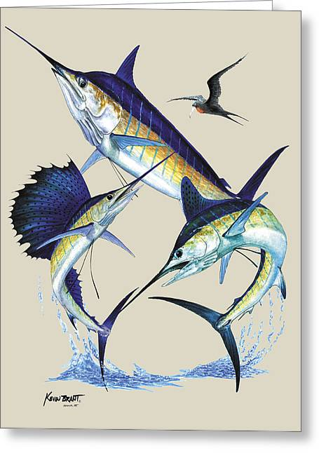 Pelegic Fish Paintings Greeting Cards - Billfish Slam Greeting Card by Kevin Brant