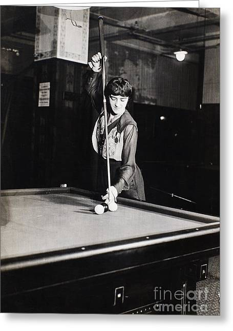 Philadelphia Photographs Greeting Cards - Billiard Champion, 1917 Greeting Card by Granger