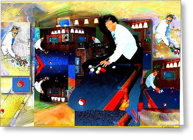 Billiards Greeting Card by Martha Carlozzi