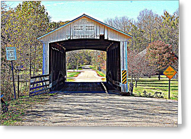 Billie Creek Village Covered Bridge Greeting Card by Robin Pross