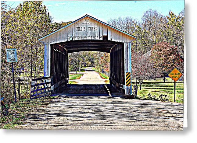 Billie Creek Village Covered Bridge Greeting Card by Robin Pross
