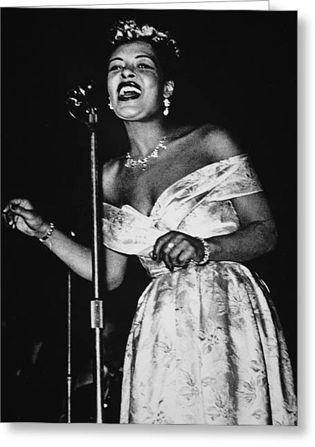 Microphones Greeting Cards - Billie Holiday Greeting Card by American School
