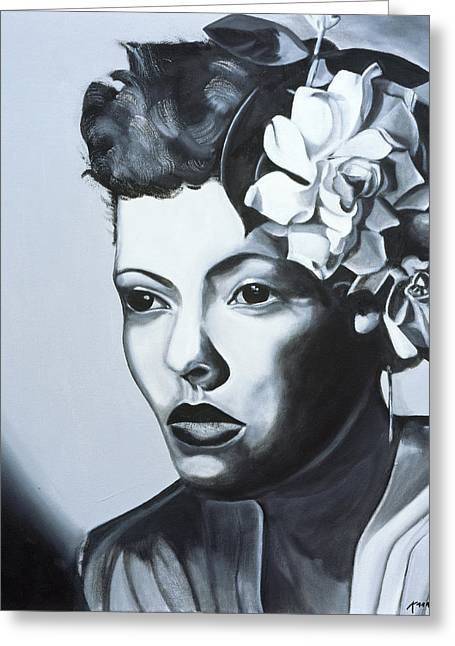 Singer Paintings Greeting Cards - Billie Holiday Greeting Card by Kaaria Mucherera