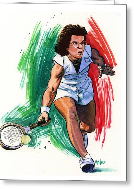Women Tennis Greeting Cards - Billie Jean King Greeting Card by Ken Meyer jr
