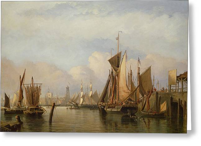 Fish Market Greeting Cards - Billingsgate Wharf Greeting Card by John Wilson Carmichael