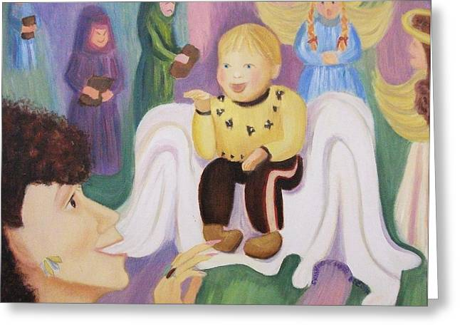 Suzanne Molleur Paintings Greeting Cards - Billy as Baby Jesus Greeting Card by Suzanne  Marie Leclair