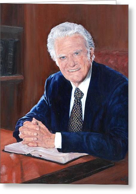 Evangelize Greeting Cards - Billy Graham Greeting Card by Phyllis Barrett