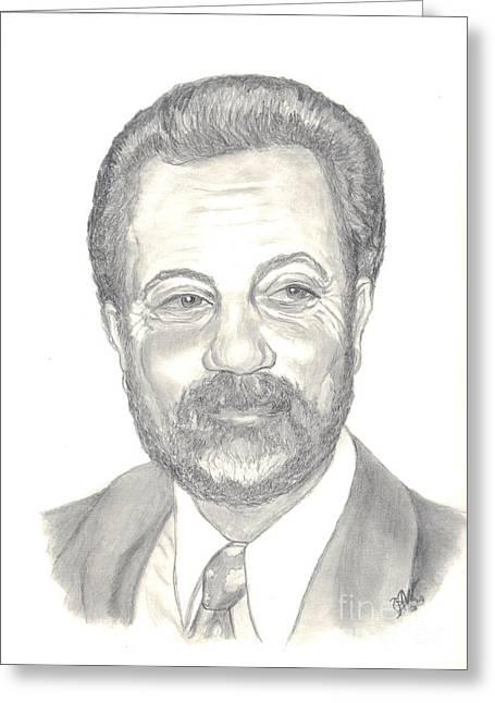 Rocks Drawings Greeting Cards - Billy Joel Portrait Greeting Card by Carol Wisniewski