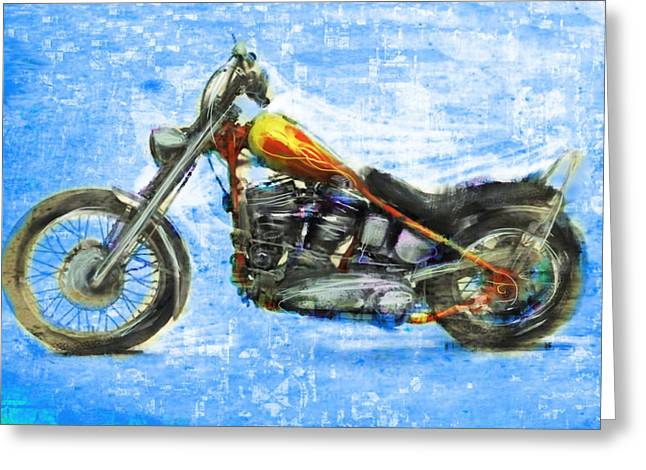 Side View Mixed Media Greeting Cards - Billys Bike Greeting Card by Russell Pierce