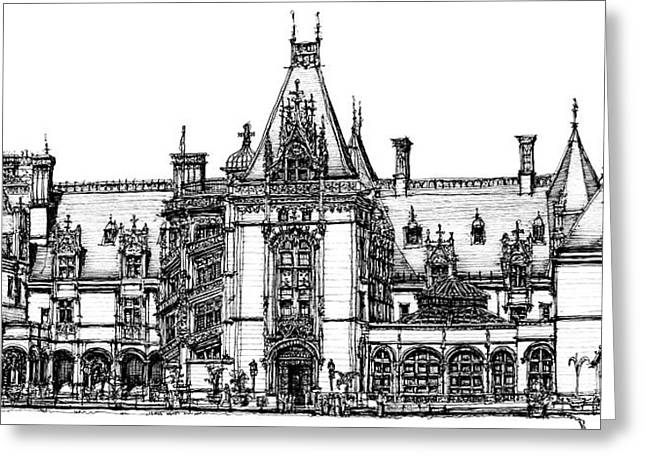 Biltmore Estate Drawing Greeting Cards - Biltmore House in Asheville  Greeting Card by Lee-Ann Adendorff