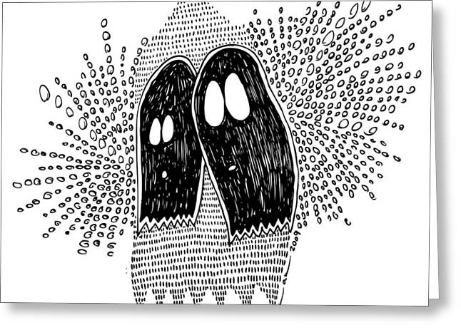 Ghost Illustration Greeting Cards - Binary Ghost Greeting Card by Karl Addison