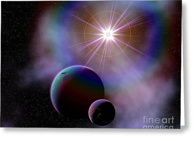 Twinkle Greeting Cards - Binary Worlds Orbiting Each Other Greeting Card by Mark Stevenson
