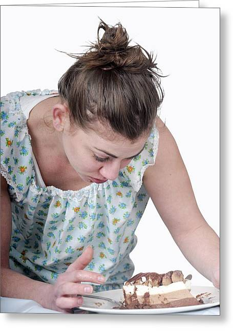 Eating Disorders Greeting Cards - Binging Woman Craving Food Greeting Card by Photostock-israel