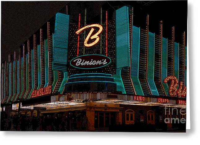 Las Vegas Art Greeting Cards - Binions Vegas Greeting Card by David Lee Thompson