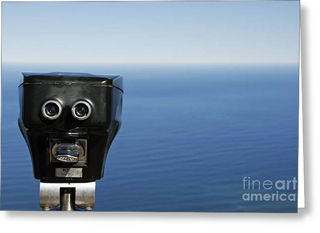 Binoculars Facing Ocean Greeting Card by Sami Sarkis