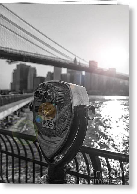 Manhattan Pyrography Greeting Cards - Binoculars NYC view Greeting Card by AHcreatrix