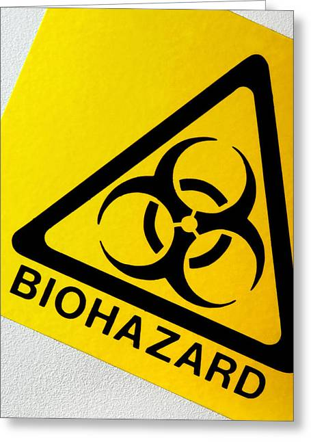 Virology Greeting Cards - Biohazard Symbol Greeting Card by Tim Vernon, Nhs Trust