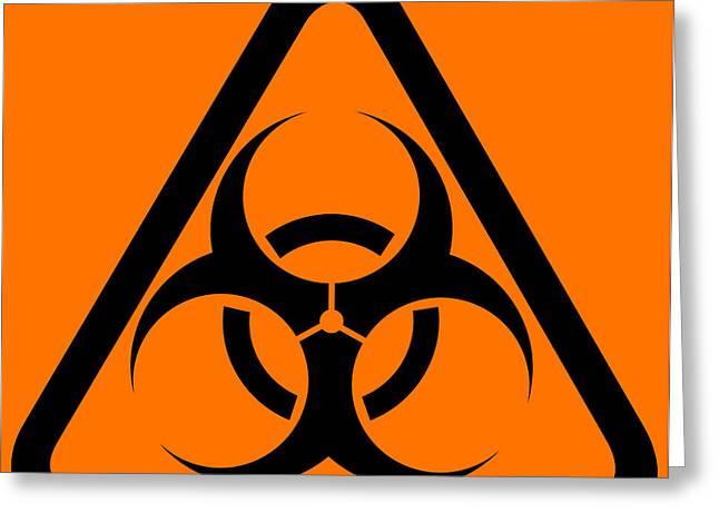 Warning Sign Greeting Cards - Biohazard Warning Sign Greeting Card by