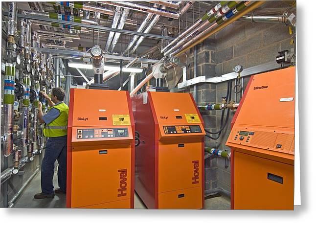 Bioenergy Greeting Cards - Biomass Boiler System Greeting Card by Chris Knapton