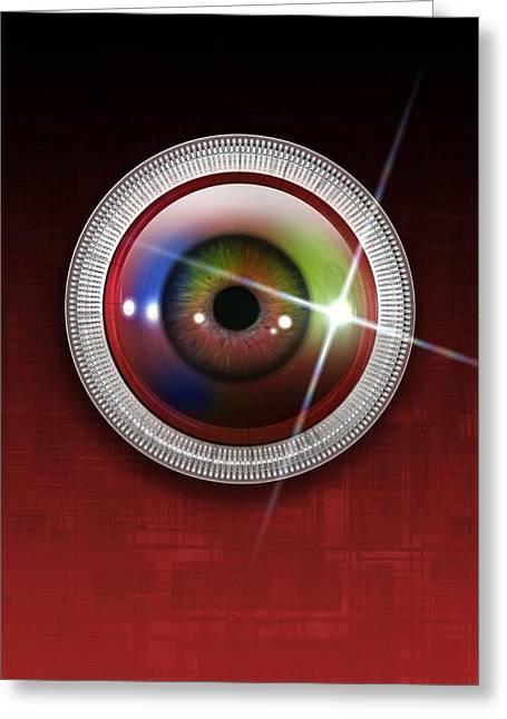 Twinkle Greeting Cards - Biometric Eye Scan, Artwork Greeting Card by Victor Habbick Visions