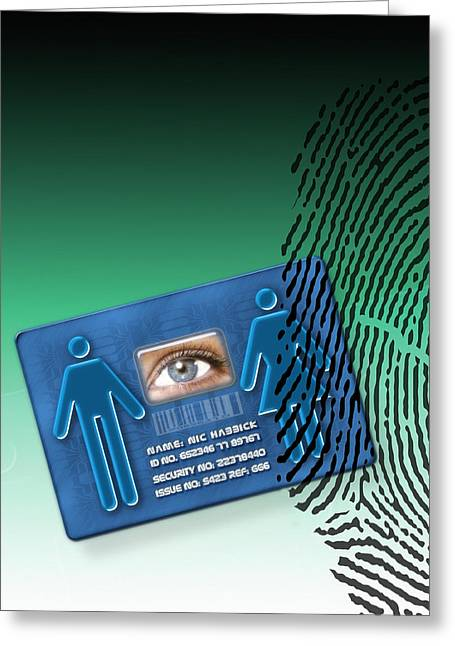 Identification Symbol Greeting Cards - Biometric Id Card Greeting Card by Victor Habbick Visions